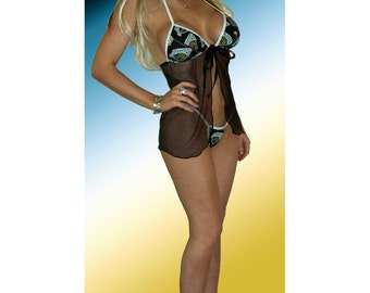 NFL Jacksonville Jaguars Lingerie Negligee Babydoll Sexy Teddy Set with Matching G-String Thong Panty