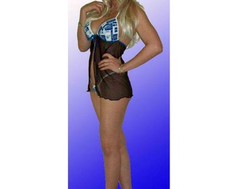NCAA Duke Blue Devils Lingerie Negligee Babydoll Sexy Teddy Set with Matching G-String Thong Panty