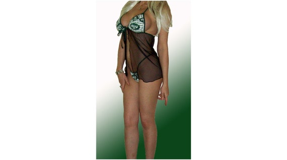 NFL New York Jets Lingerie Negligee Babydoll Sexy Teddy Set with Matching G-String Thong Panty