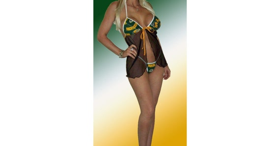 NFL Green Bay Packers Lingerie Negligee Babydoll Sexy Green Teddy Set with Matching G-String Thong Panty