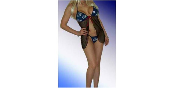 NFL Tennessee Titans Lingerie Negligee Babydoll Sexy Teddy Set with Matching G-String Thong Panty
