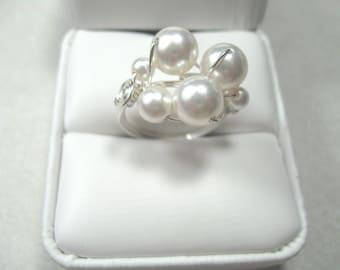 White Swarovski pearl ring