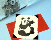 Panda Bear Clear Polymer Rubber Stamp