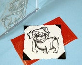 Pug Dog Clear Polymer Rubber Stamp