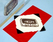 Retro Cassette Tape Clear Polymer Rubber Stamp