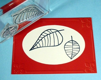 Pair of Leaves Clear Polymer Rubber Stamp Mini-set