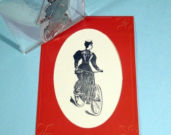 Victorian Lady Vintage Bicycle Clear Polymer Rubber Stamp