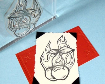 Flaming Cherries Clear Polymer Rubber Stamp tattoo