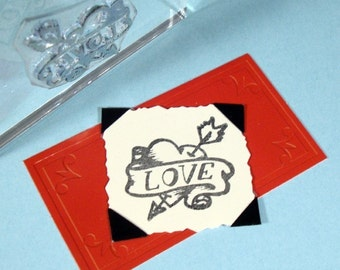 Heart Love Tattoo Clear Polymer Rubber Stamp