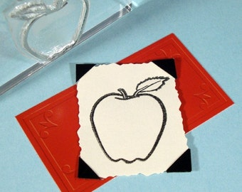 Apple Clear Polymer Rubber Stamp