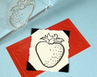 Strawberry Clear Polymer Rubber Stamp