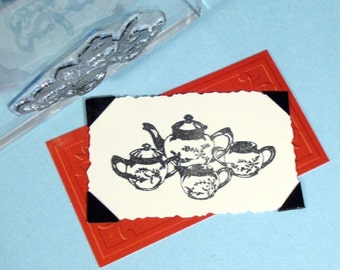 Tea Set Clear Polymer Rubber Stamp