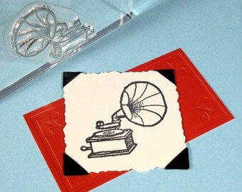 Gramophone Phonograph Clear Polymer Rubber Stamp