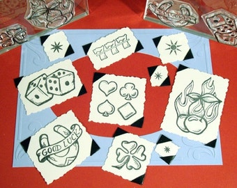 Good Luck Set Clear Polymer Rubber Stamp clover dice card suits cherries