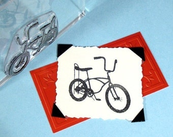 Vintage 70s Bicycle Clear Polymer Rubber Stamp