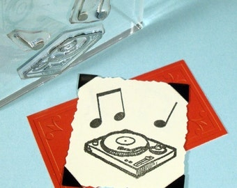 Turntable Record Player Clear Polymer Rubber Stamp Mini-Set
