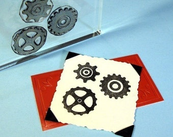 Cogs Clear Polymer Rubber Stamp Mini-Set Gears