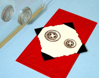 Sewing Buttons Clear Polymer Rubber Stamp mini-set
