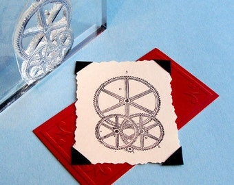 Gear Machine Clear Polymer Rubber Stamp Cogs