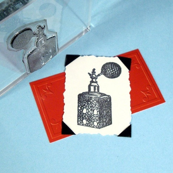 Vintage Perfume Bottle Clear Polymer Rubber Stamp