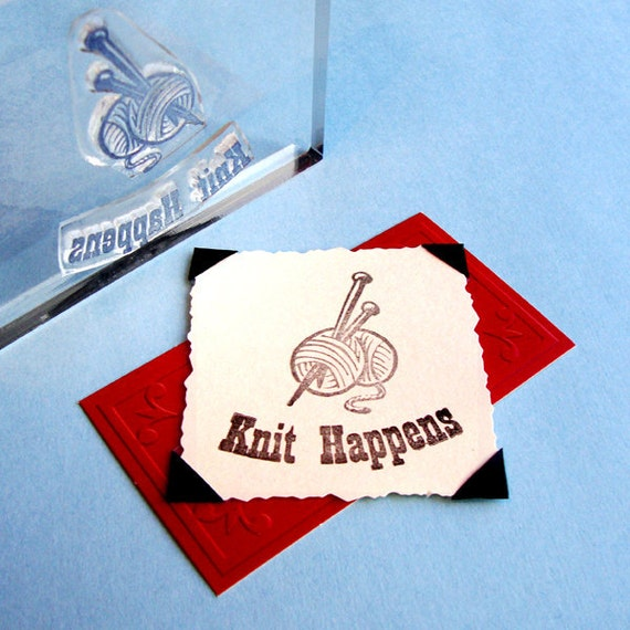Knit Happens Yarn Needles Clear Polymer Rubber Stamp knitting mini-set