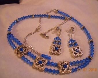 Blue Swarovski Crystal and Sterling Set