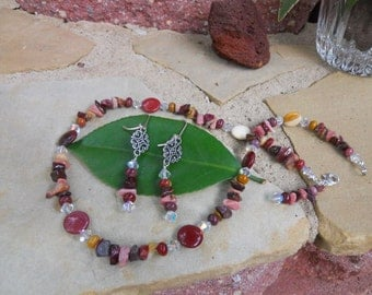 Stone sterling silver necklace, earring set