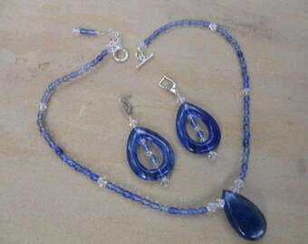 Blueberry Quartz Sterling Necklace/Earring Set