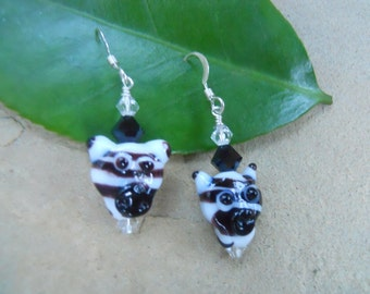 Children's Sterling Glass Zebra Pierced Earrings