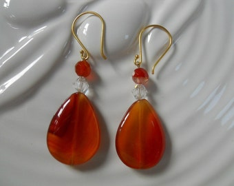 Carnelian Stone Tear Drop Earrings