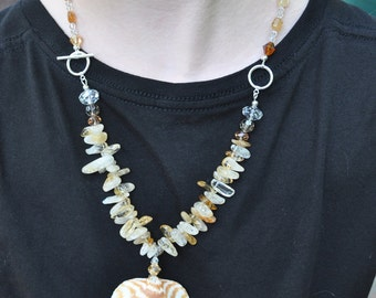 Shell, stone, & crystal necklace/earring set