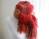 Extra Long Knit Scarf, Succulent Reds
