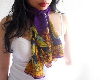 Long Scarf, Tribal Scene Upcycled Fabric, Purple and Yellow African Scene Print