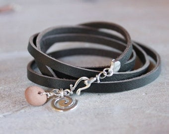 Leather wrap bracelet - sterling silver and Sedona Red Rock Charm