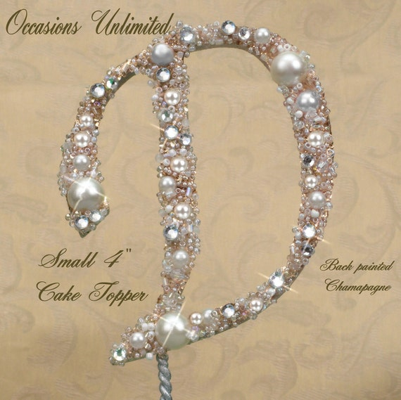 """SMALL 4"""" Champagne or color Cake Topper - Cake Top Bling Wedding Monogram pearls and crystals"""