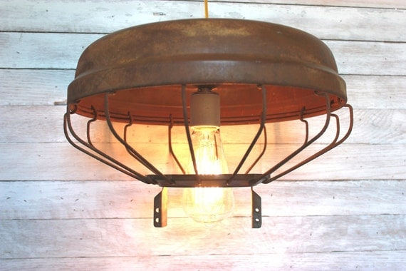 Southern Lighting from Relcaimed Metal Chicken Feeder