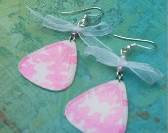 Guitar Pick Earrings Baby Pink Lace