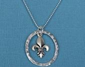 SARA necklace - Fleur de lis pendant in fine silver ring