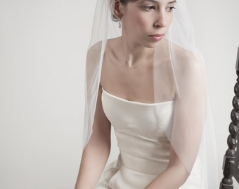 Cocoon- one layer wedding bridal veil, 36 inch length with raw edges, ivory or white [style 004]