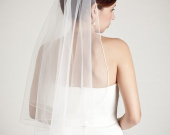 soft simple bridal veil, thin seam edge, drape veil, boho chic, elbow fingertip waist length