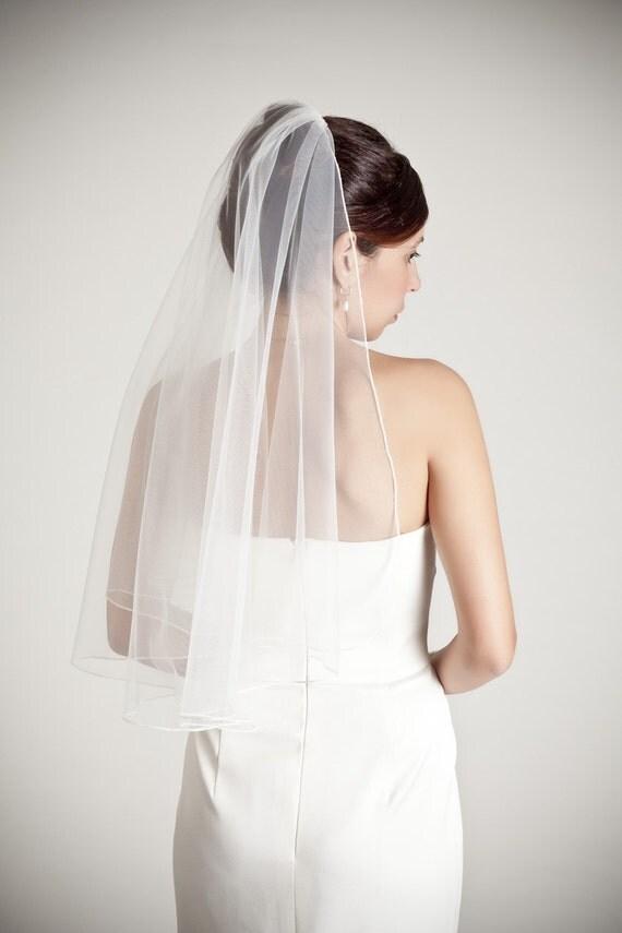 soft simple bridal veil, thin seam edge, drape veil, boho chic, elbow fingertip waist length