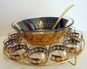 Vintage Culver Glass Punch Bowl Set with Metal Rack