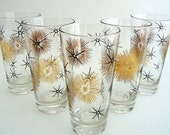 5 Black and Gold  Atomic Starburst Tumblers Federal Glass