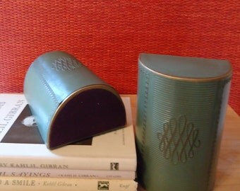 Vintage Green Faux Leather Bookends with Embossed Scroll Pattern