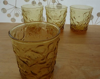 4 Anchor Hocking Honey Gold Milano Lido Glasses 8 oz