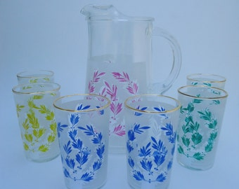 1960s Bartlett Collins Color Fare Frosted Pitcher and Juice Glasses