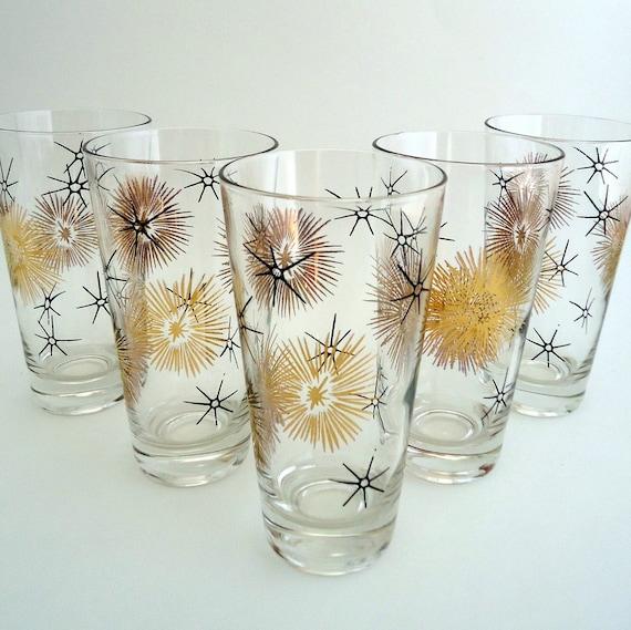 5 black and gold atomic starburst tumblers federal glass - Starburst glassware ...