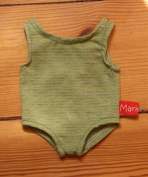 Doll Swimsuit with Stripes in Green and Grey 16 inch / 40 cm