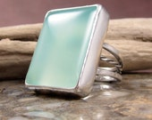 sterling silver chalcedony ring size 8.5