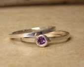 Skinny Sterling Stack rings-set of 2- With Flush set Amethyst Size 7 SALE 20% OFF